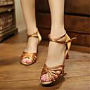 hesapli Balo Ayakkabıları ve Modern Dans Ayakkabıları-Kadın's Saten Latin Dans Ayakkabıları / Salsa Ayakkabıları Topuklular Kişiye Özel Kişiselleştirilmiş Mavi / Badem / Kırmızı / EU41