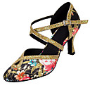 baratos Sapatos de Dança Latina-Mulheres Sapatos de Dança Latina / Sapatos de Dança Moderna Paetês / Cetim Sandália / Salto Lantejoulas / Presilha Salto Personalizado