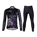 cheap Cycling Jersey & Shorts / Pants Sets-ILPALADINO Women's Long Sleeves Cycling Jersey with Tights - Black Bike Clothing Suits, 3D Pad, Quick Dry, Ultraviolet Resistant,