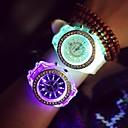 voordelige Kwarts-Dames Kwarts Polshorloge LED s Nachts oplichtend Lichtgevend Silicone Band Glitter Informeel Modieus Cool Zwart Wit