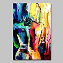 baratos Pinturas a Óleo-Pintura a Óleo Pintados à mão - Abstrato / Pessoas Modern Com Moldura