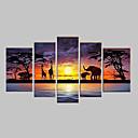 tanie Pejzaże-Ręcznie malowane Streszczenie Wszelkie Kształt Pięć paneli Płótno Hang-Malowane obraz olejny For Dekoracja domowa