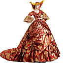 cheap Historical & Vintage Costumes-Rococo Victorian Costume Women's Dress Party Costume Masquerade Red Vintage Cosplay Lace Cotton Court Train Long Length Halloween Costumes / Floral