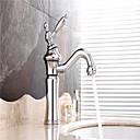 رخيصةأون حنفيات مغاسل الحمام-بالوعة الحمام الحنفية - شطف مسبق / واسع الانتشار / قابل للتدوير الكروم في وسط التعامل مع واحد اثنين من الثقوب