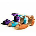 cheap Latin Shoes-Latin Shoes Satin Heel Buckle Cuban Heel Non Customizable Dance Shoes Purple / Brown / Light Blue / Indoor / Leather