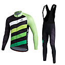 cheap Cycling Jersey & Shorts / Pants Sets-Miloto Men's Long Sleeve Cycling Jersey with Bib Tights - White Bike Clothing Suit, Breathable, 3D Pad, Thermal / Warm, Quick Dry, Fleece Lining, Winter, Polyester, Fleece, Silicon Stripe / Stretchy