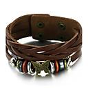 cheap Men's Bracelets-Men's Leather Bracelet - Leather Cross Vintage, Fashion Bracelet Brown For Gift / Daily / Casual