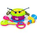 baratos Instrumentos de Brinquedo-Bateria Pandeiro Alto-Falante Bels de mão Brinquedo Educativo Bateria Clássico Plástico ABS 5pcs Crianças Infantil Para Meninos Dom