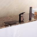 baratos Torneiras de Banheira-Torneira de Banheira - Clássica Arte Deco / Retro Modern Bronze Polido a Óleo Banheira Romana Válvula Cerâmica