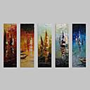 رخيصةأون لوحات الطبيعة-رسمت باليد مناظر طبيعية كنفا هانغ رسمت النفط الطلاء تصميم ديكور المنزل خمس لوحات