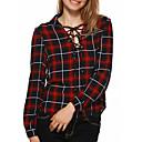 preiswerte Kronleuchter-Damen Verziert Baumwolle Hemd, V-Ausschnitt