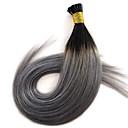 billige Fusionerede hårforlængelser-PANSY Fusion / I-tip Menneskehår Extensions Lige Nuance Menneskehår Sort / Grå