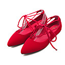 cheap Wedding Shoes-Women's Shoes Fleece Spring / Summer Comfort / Ankle Strap Flats Walking Shoes Flat Heel Pointed Toe Lace-up Black / Red / Blue
