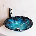 baratos Pia de Lavabo-Contemporâneo T12*Φ470*H160MM Redondo material dissipador é Vidro TemperadoPia de Banheiro / Torneira de Banheiro / Anél de Instalação de