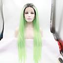 preiswerte Kappenlos-Synthetische Lace Front Perücken Glatt Synthetische Haare Grün Perücke Damen Spitzenfront Grün