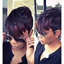 abordables Pelucas Naturales de Malla-Pelucas sintéticas Recto Pelo sintético Negro Peluca Mujer Negro / Borgoña