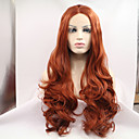 cheap Synthetic Capless Wigs-Synthetic Lace Front Wig Wavy Synthetic Hair Natural Hairline / Middle Part Red Wig Women's Long Lace Front Wig