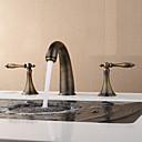 رخيصةأون حنفيات مغاسل الحمام-المعاصرة العتيقة الحديثة واسعة انتشارا السيراميك صمام اثنين مقابض ثلاثة ثقوب العتيقة النحاس ، حمام بالوعة صنبور الصنابير