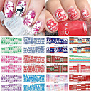 cheap Keychains-new 12 christmas styles water transfer nail art stickers full cover decals snowflake diy decoration for xmas bn241 252