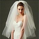 cheap Clutches & Evening Bags-Two-tier Cut Edge Wedding Veil Blusher Veils / Elbow Veils / Fingertip Veils with Tulle / Classic