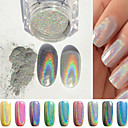 cheap Rhinestone & Decorations-1g box colorful laser silver mirror powder rainbow nail powder dust glitter chrome pigment nail art sequins