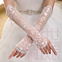 cheap Wedding Garters-Lace Elbow Length Glove Bridal Gloves With Embroidery