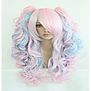 cheap Costume Wigs-fashion 70cm long blue mixed pink wavy ponytails high quality synthetic lolita party cosplay wig