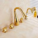 お買い得  浴槽用蛇口-浴槽用水栓 - アンティーク / 伝統風 / 近代の アンティーク銅 バスタブとシャワー 真鍮バルブ / 3つのハンドル5つの穴
