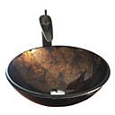 hesapli Çanak Lavabolar-Antik T12*Φ420*H145MM Yuvarlak Emici Malzeme olduğunu Temperli CamBanyo Lavabosu / Banyo Musluğu / Banyo Montaj Halkaları / Banyo Su
