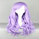 cheap Synthetic Wigs-Synthetic Wig / Cosplay & Costume Wigs Wavy With Bangs Synthetic Hair Side Part Purple Wig Women's Very Long Capless