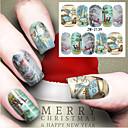 billige Christmas Nail Art-1 pcs Vannoverføringsklistre Neglekunst Manikyr pedikyr Mote Daglig