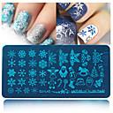 billige Christmas Nail Art-1pcs Stampplate Mal Neglekunst Manikyr pedikyr Mote Daglig / stempling Plate / Stål