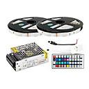 Χαμηλού Κόστους Φωτιστικά Λωρίδες LED-ZDM® 2x5M Φωτολωρίδες RGB 2*150 LEDs 5050 SMD 1 Τηλεχειριστήριο 44Keys / 1 καλώδια DC / 1 X 5A τροφοδοτικό RGB Μπορεί να κοπεί / Διακοσμητικό / Αυτοκόλλητο 1set