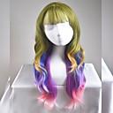 halpa Synteettiset peruukit ilmanmyssyä-Synteettiset peruukit Luonnolliset aaltoilevat Synteettiset hiukset Ruskea Peruukki Naisten Pitkä / Hyvin pitkä Suojuksettomat