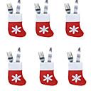 abordables Décorations de Noël-6pcs chaussettes de noël plateau à couverts petites chaussettes