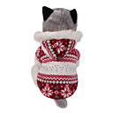 abordables Disfraces de Navidad para mascotas-Perro Abrigos Saco y Capucha Ropa para Perro Copo Marrón Rojo Algodón Disfraz Para mascotas Hombre Mujer Reversible Mantiene abrigado