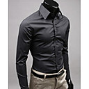 cheap Bracelets-Men's Work Street chic Cotton Slim Shirt - Solid Colored / Long Sleeve