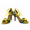 abordables Zapatos de Baile Latino-Mujer Latino Salsa Encaje Seda Sandalia Tacones Alto Rendimiento Profesional Hebilla Corbata de Lazo Tacón Personalizado Blanco Amarillo