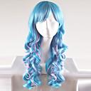 preiswerte Kuchenbackformen-Synthetische Perücken Natürlich gewellt Synthetische Haare Blau Perücke Damen Lang / Sehr lang Kappenlos Blau
