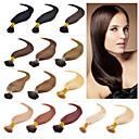 billige Fusionerede hårforlængelser-Febay Fusion / I-tip Menneskehår Extensions Lige Hårforlængelse af menneskehår Menneskehår Dame - Rødblondt Mørk Rødbrun Mellembrun