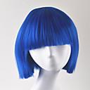 halpa Videopeli-peruukit-Synteettiset peruukit Suora Tyyli Bob-leikkaus Suojuksettomat Peruukki Sininen Synteettiset hiukset Naisten Peruukki Lyhyt Cosplay-peruukki