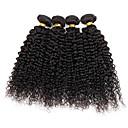 baratos Extensões de Cabelo com Cor Natural-4 pacotes Cabelo Brasileiro Kinky Curly / Weave Curly Cabelo Humano Cabelo Humano Ondulado Tramas de cabelo humano Extensões de cabelo humano / Crespo Cacheado