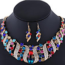 cheap Jewelry Sets-Women's Crystal Jewelry Set - Rhinestone, Rose Gold Plated, Imitation Diamond Luxury, Bohemian, Boho Include Statement Necklace Earrings Pink / Rainbow / Champagne For Wedding Party Special Occasion