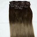 baratos Extensões de Cabelo com Tic Tac-Com Presilha Extensões de cabelo humano Liso Extensões de Cabelo Natural Cabelo Humano Mulheres