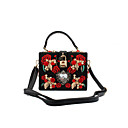cheap Totes-Women's Bags PU / Metal Evening Bag Crystal / Rhinestone / Flower Black