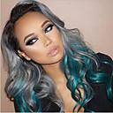 halpa Synteettiset peruukit ilmanmyssyä-Synteettiset peruukit Runsaat laineet Synteettiset hiukset Liukuvärjätyt hiukset Harmaa Peruukki Naisten Suojuksettomat