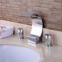 abordables Grifos de Lavabo-Moderno Muy Difundido Cascada Válvula Cerámica Dos asas de tres agujeros Cromo, Grifo de bañera