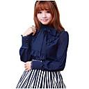 baratos Vestidos Lolita-Blusa / Camisa Doce Vermelho / Azul / Branco Acessórios Lolita Blusa Elastano / Poliéster