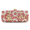 cheap Clutches & Evening Bags-Women's Bags Metal Evening Bag Crystal / Rhinestone / Flower Floral Print Pink / Rhinestone Crystal Evening Bags / Rhinestone Crystal Evening Bags