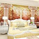 billige Vegglamper-Art Deco 3D Hjem Dekor Retro Rød Tapetsering, Lerret Materiale selvklebende nødvendig Veggmaleri, Tapet